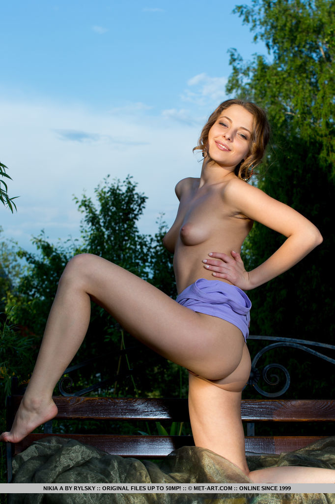 Beautiful Nikia A bares her amazing phyisique with beautiful puff breasts and delicious pussy as she poses in the outdoors.