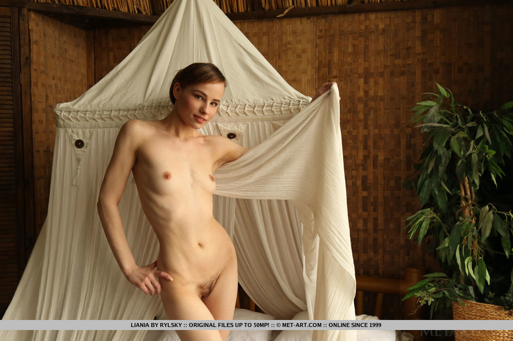 Liania proudly showcases her lean body with perky nipples and an unshaved pussy