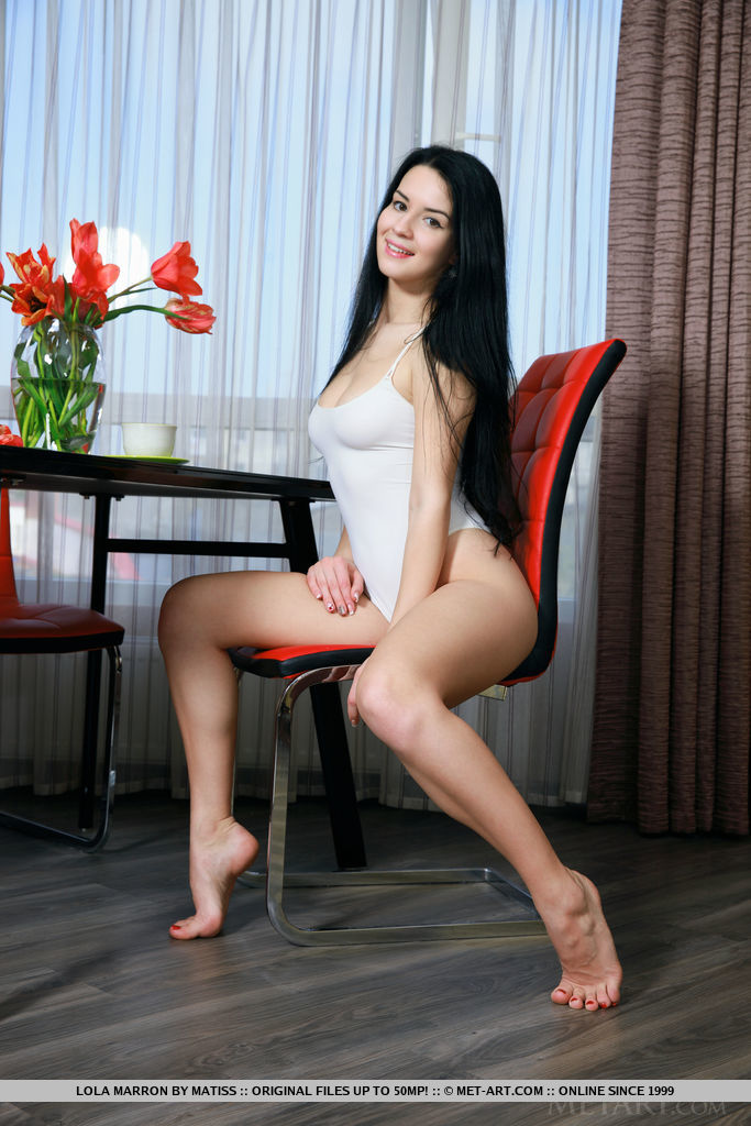 Lola Marron strips on the chair baring her gorgeous body.