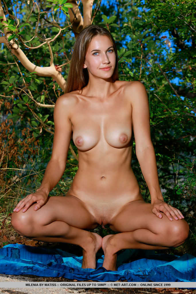 Milenia bares her beautiful tits and shaved pussy in the forest.