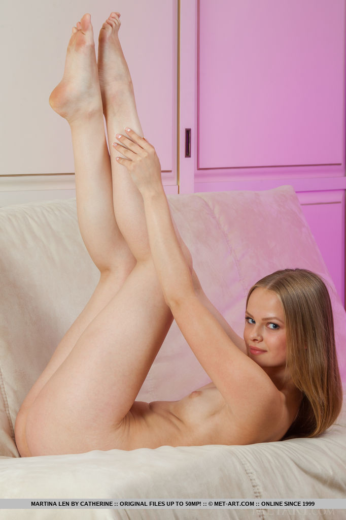 Sweet and confident blonde named Martina Len debuting in Metart with her fair, nubile body with pink, puffy bits