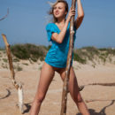 Sexy blonde Luciana A with no panties at windy beach