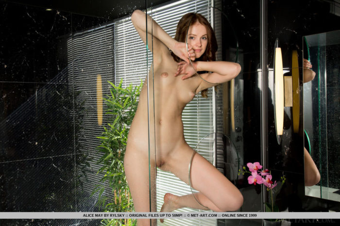 Venice Lei shows off her sexy legs and unshaven pussy in the veranda.