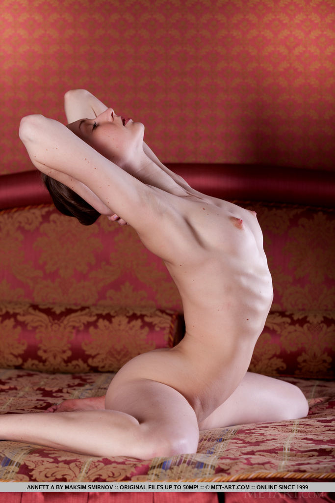 Annett A bares her flexible body and perky nipples on the bed.
