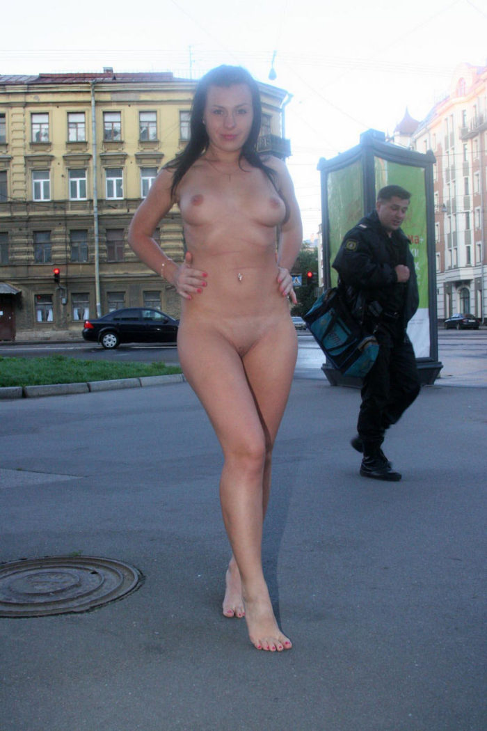 Brunette, which i would like to touch, posing at morning city