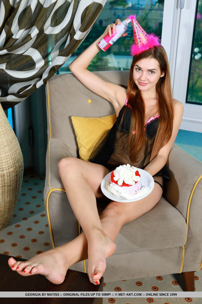 Cute and charming Georgie celebrates her debut with a special striptease