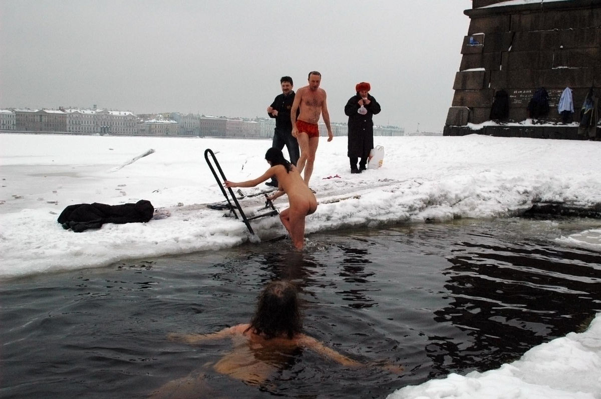 from Pedro swim in ice hole naked