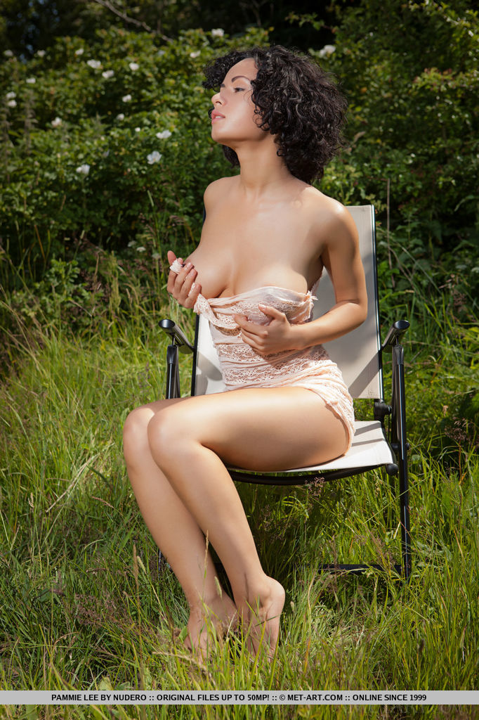 Pammie Lee strips in the outdoors baring her curvy body with large puffy breasts in front of the camera.