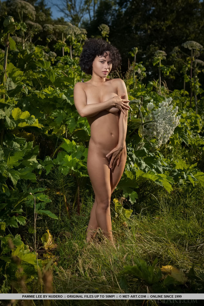 Curly-haired Pammie Lee shows off her curvy body and meaty ass outdoors.