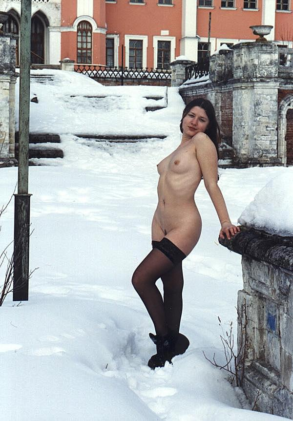 Jella's old photos where she posing at winter only in stockings