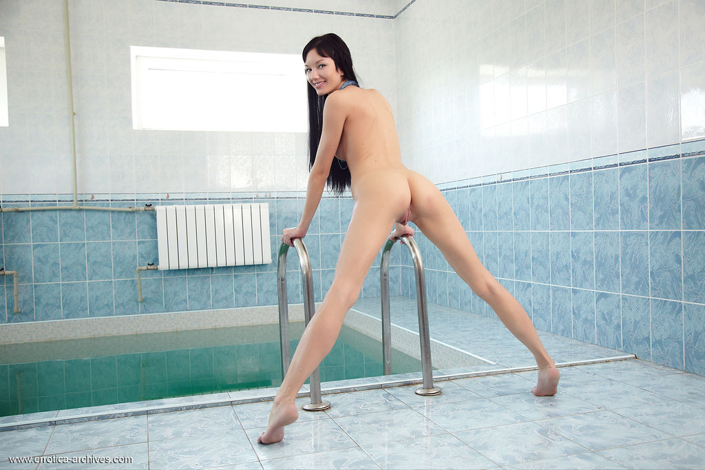 Loreen bares her slender body with beautiful breasts and meaty labia all over the pool.