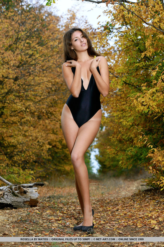 Rosella sensually strips outdoors baring her slender body and shaved pussy.