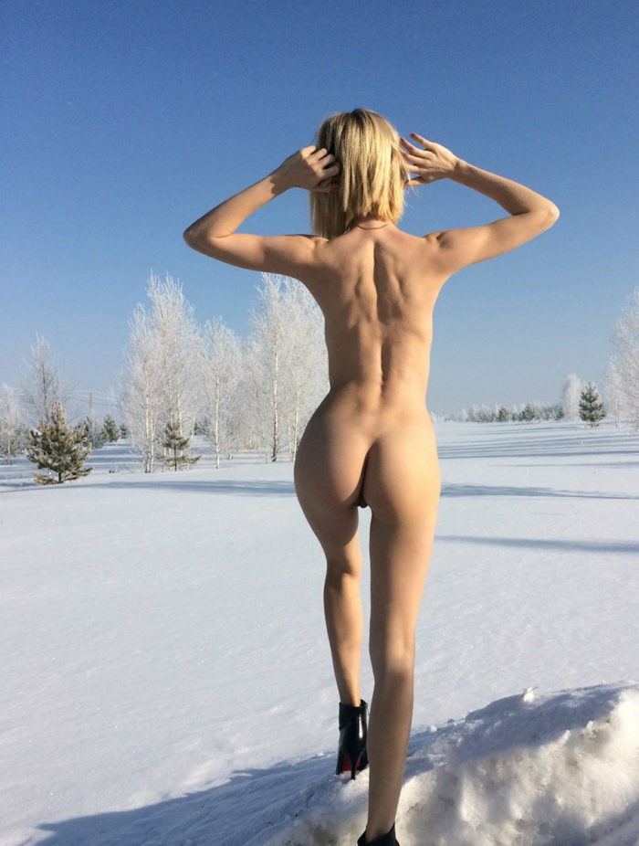 Russian amateur blonde shows perfect round ass
