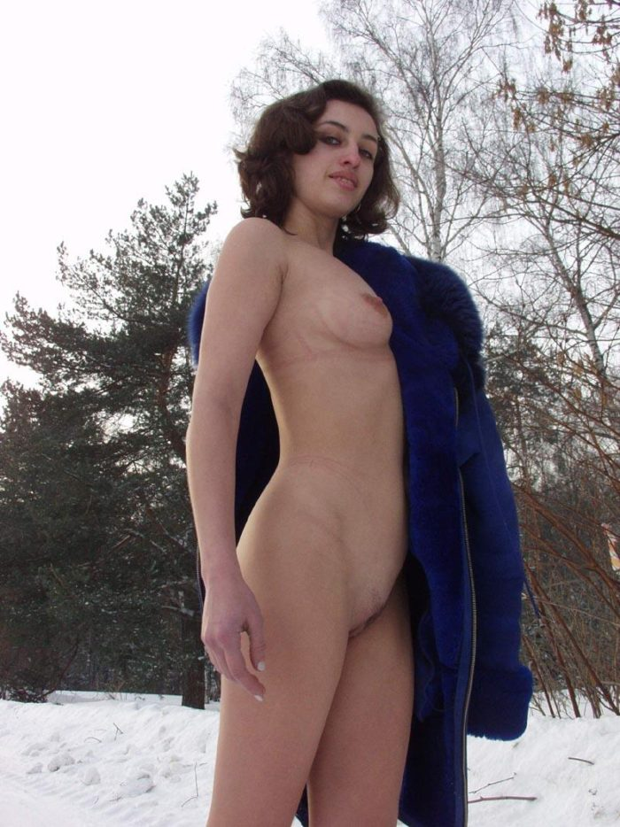 Russian girl Luda removes panties at winter countryhouse