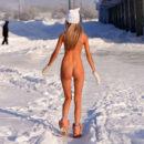 Russian teen Marina B posing naked on frozen streets