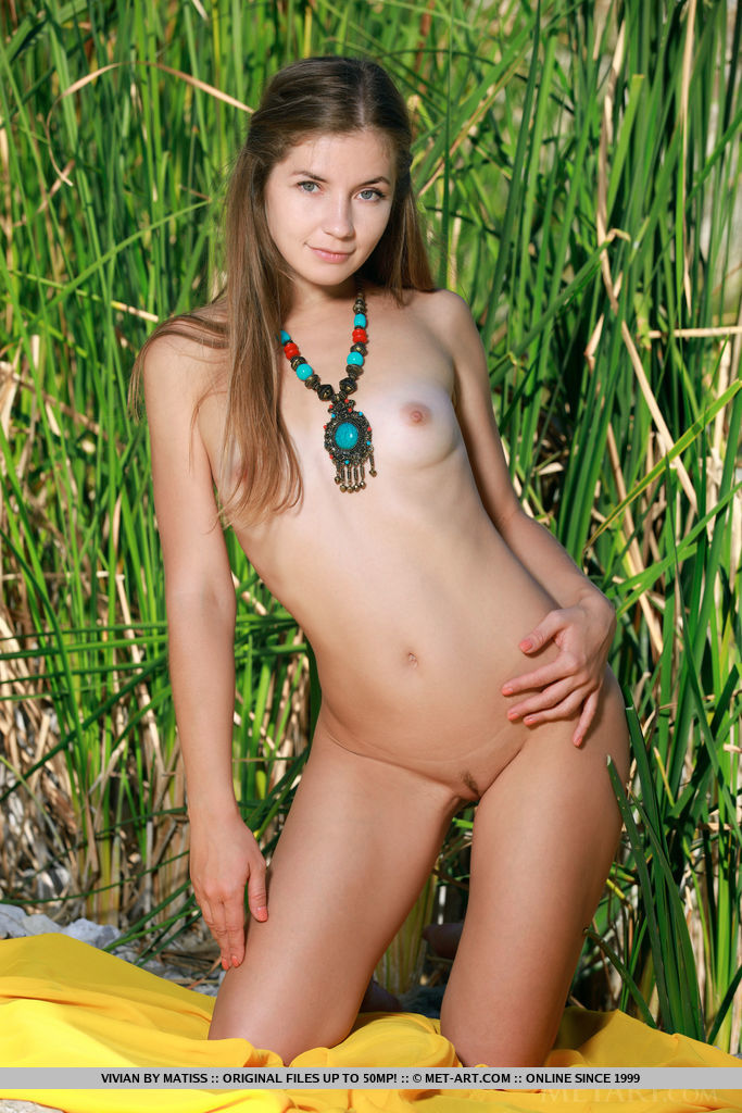 Vivian flaunts her beautiful, nubile body as she poses outdoors.