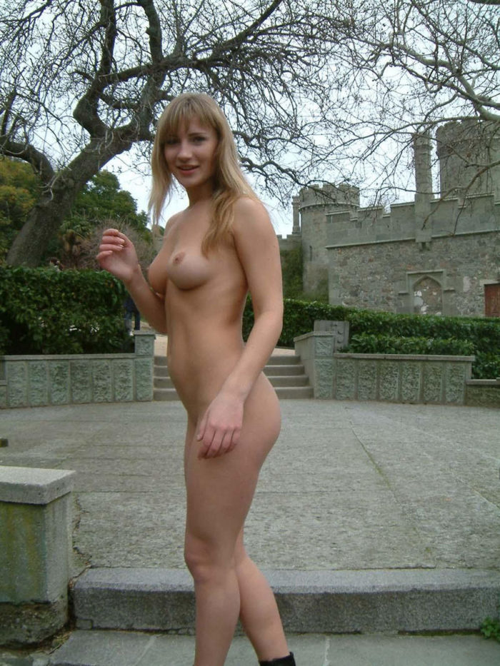 Busty blonde Lena V walkes at public park