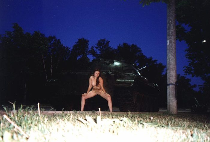 Naked russian teen posing on tanks at Moscow park