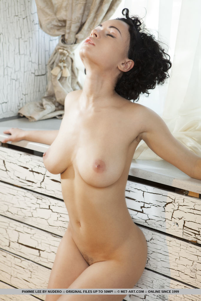 Pammie Lee flaunts her trimmed pussy and beautiful tits in the bedroom.