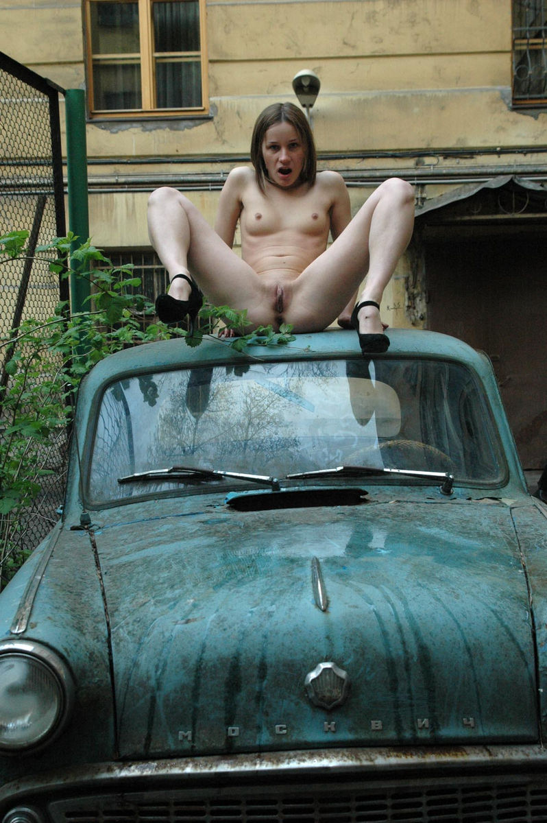 Russian Teen On An Old Car  Russian Sexy Girls-1467
