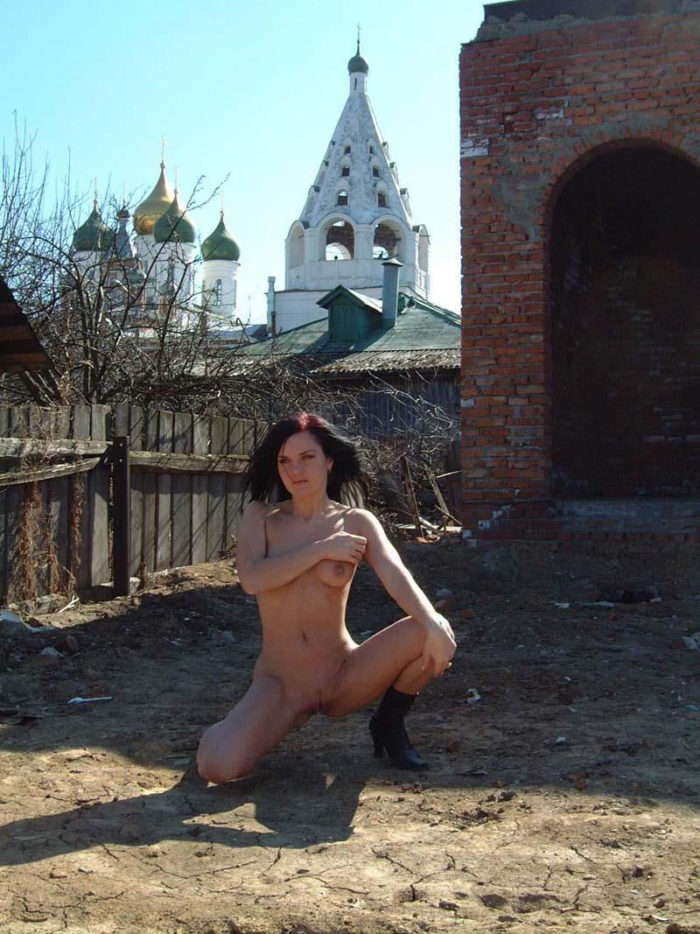 Shameless russian girl posing in boots