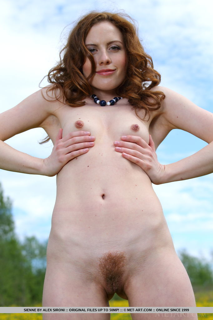 Sienne strips her blue flowy dress as she bares her creamy petite body with pink perky nipples and unshaven pussy outdoors.