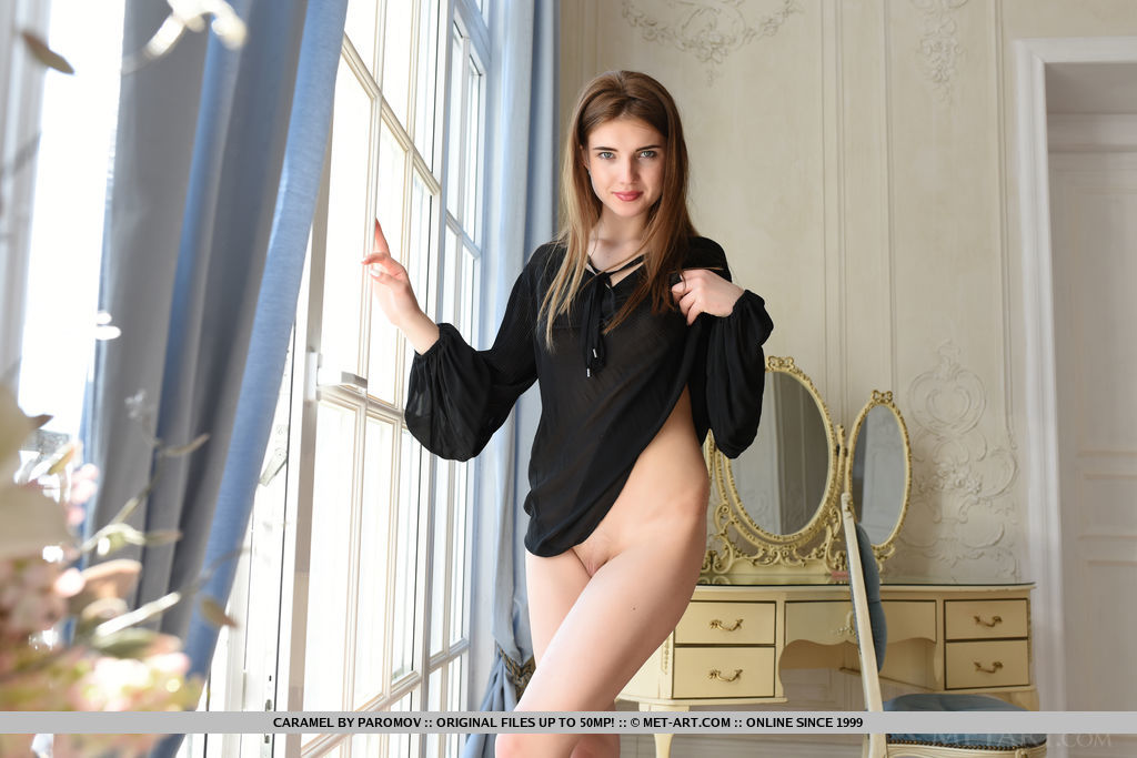 Top model Caramel strips on the chair baring her delectable, nubile body.