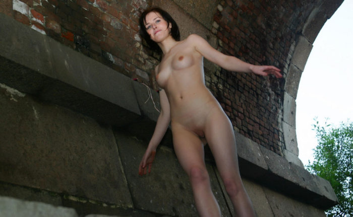 Two beautiful russian amateurs under the bridge