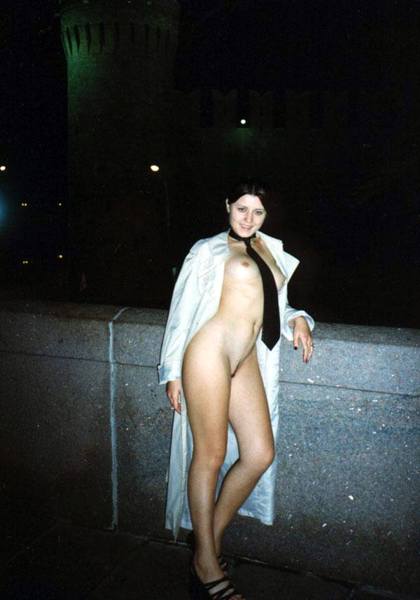 Vintage photos of young Moscow exhibitionist girl