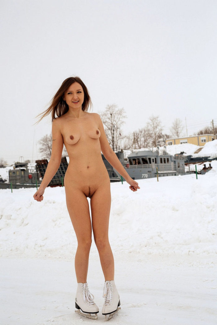 Naked Galya on winter skates