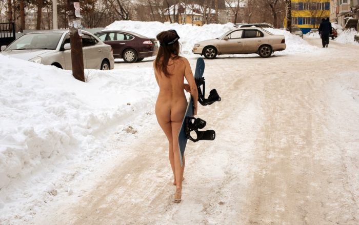 Naked snowboarder Galya at city