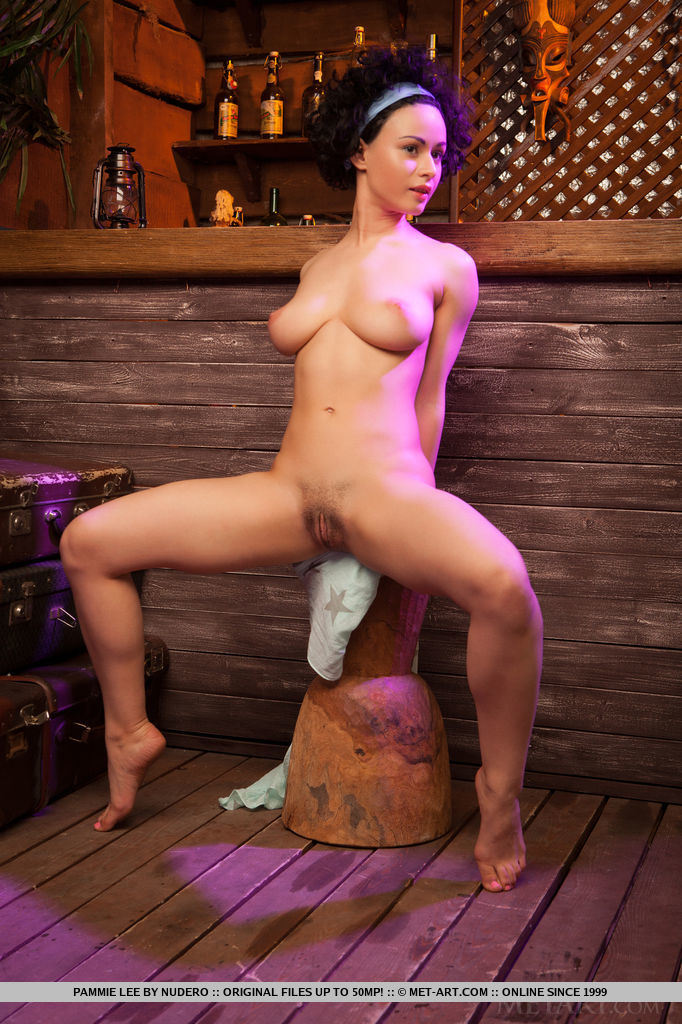 Pammie Lee's curvy, naked body sprawled on top of bar's countertop, with a breathtaking view of her sweet and ripe pussy, long, smooth legs, and beautiful puffy breasts.