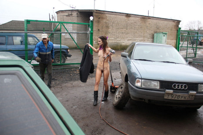 Skinny russian girl helps in auto-service