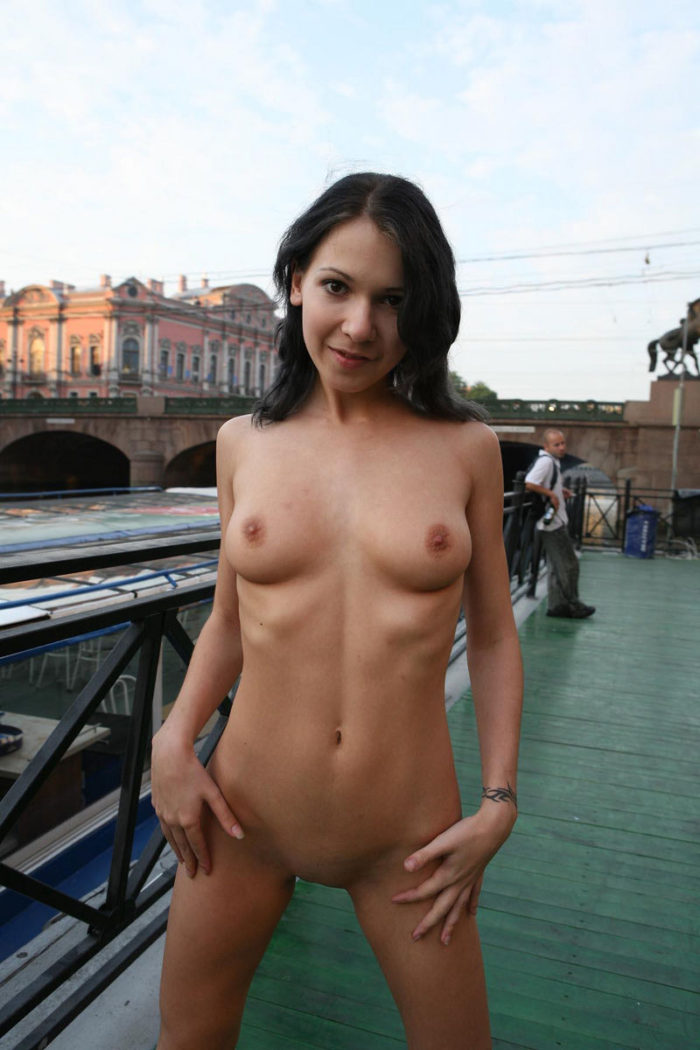 Teen brunette Nadya M on the dock with strangers