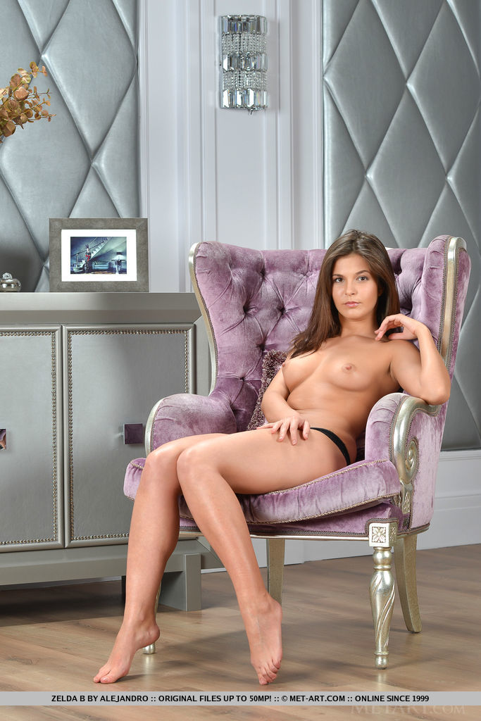Zelda B strips her sexy lingerie baring her sexy body on the chair.