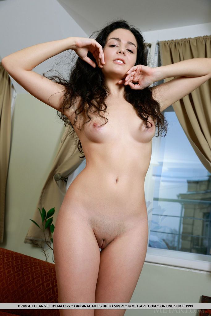 Bridgette Angel sensually poses on the couch baring her small pussy.