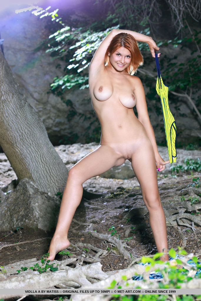 Violla A strips her bikini baring her beautiful tits and sweet   pussy outdoors.
