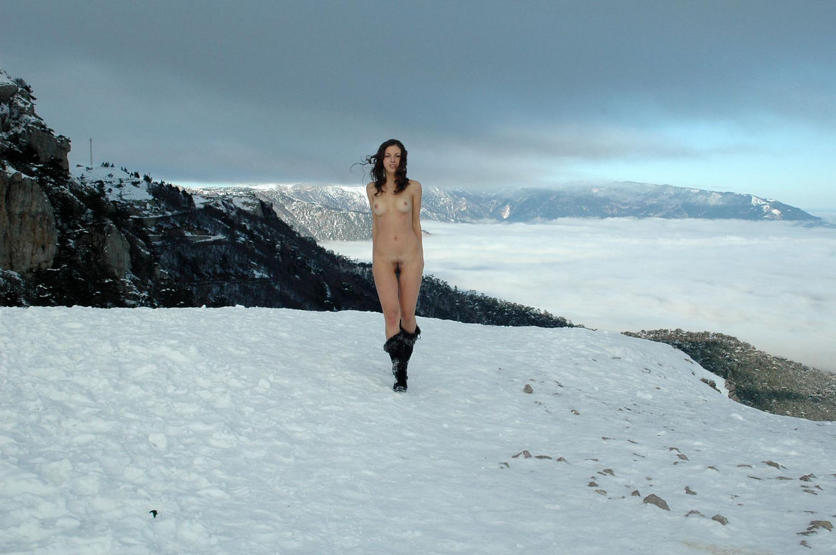 Beautiful russian girl Alexandra B on the mountain top ...