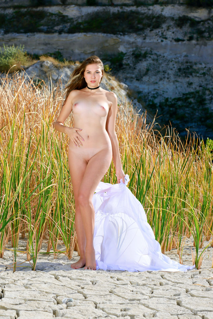 Bellina displays her delectable body and smooth pussy as she poses in the field.
