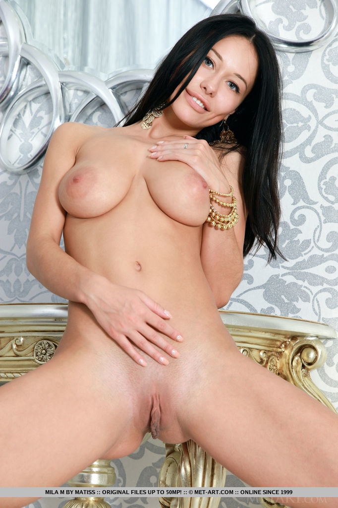 Mila M strips her long black dress baring her gorgeous curvy phyisique with large puffy breasts, tight butt and yummy pussy.