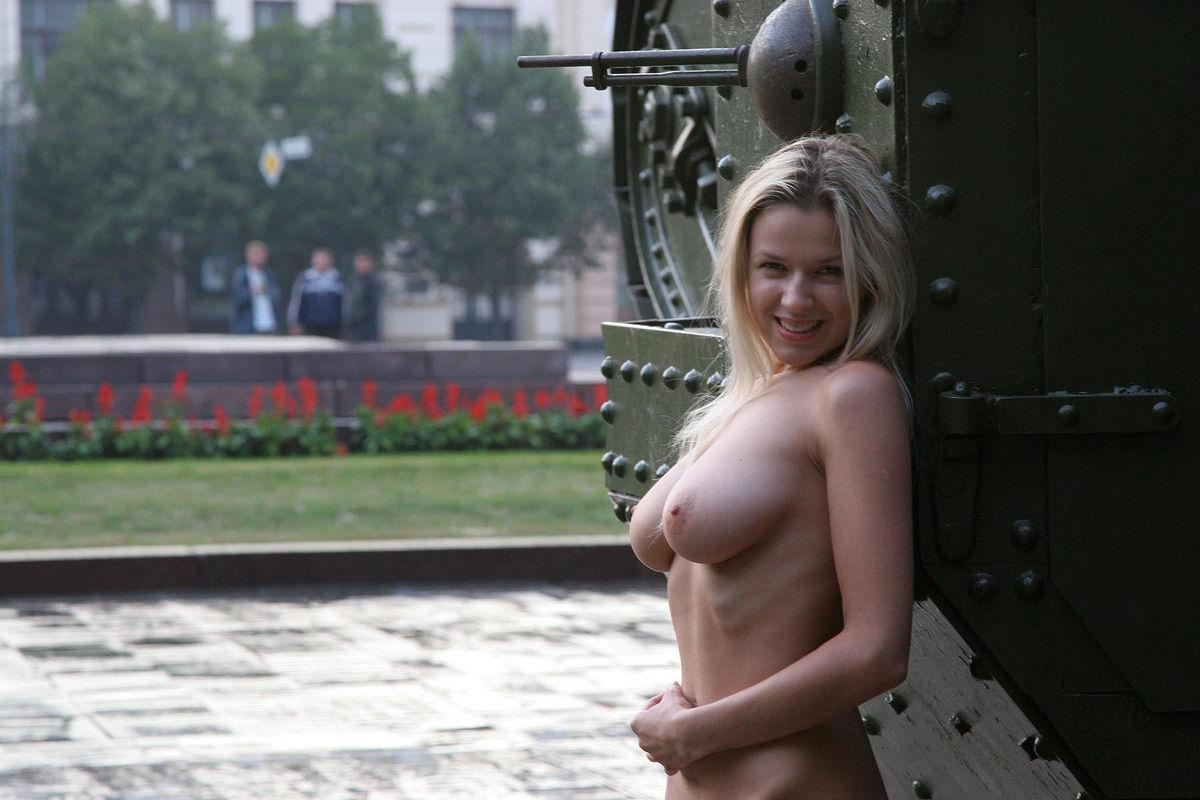 Naked girl and tank