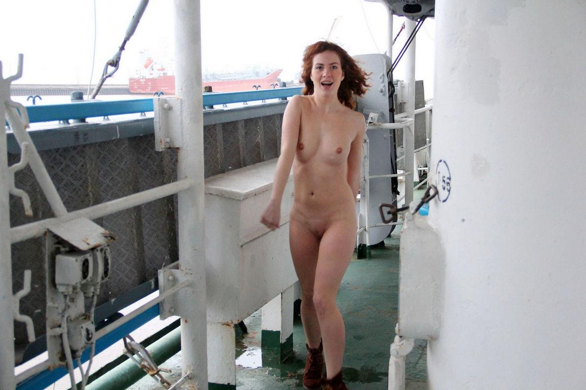 Naked redhead girl Masha on big ship | Russian Sexy Girls