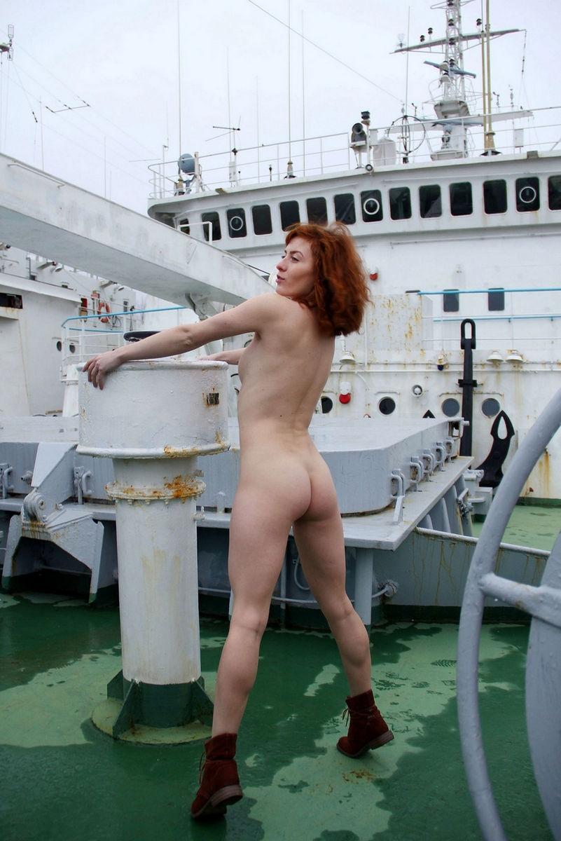 Naked Redhead Girl Masha On Big Ship  Russian Sexy Girls-3645