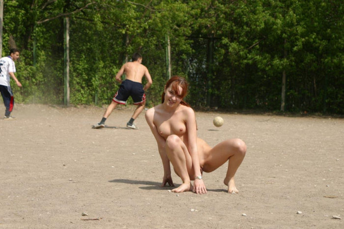 Naked teen Tanya on the playground