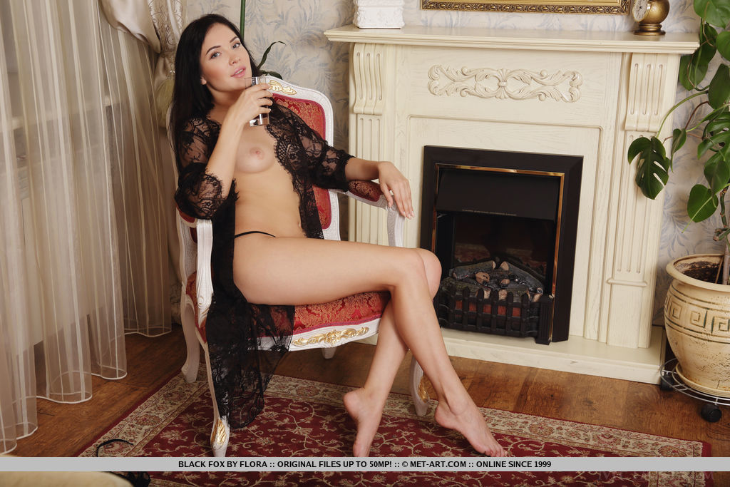Newcomer Black Fox strips her sexy lingerie baring her smooth pussy.