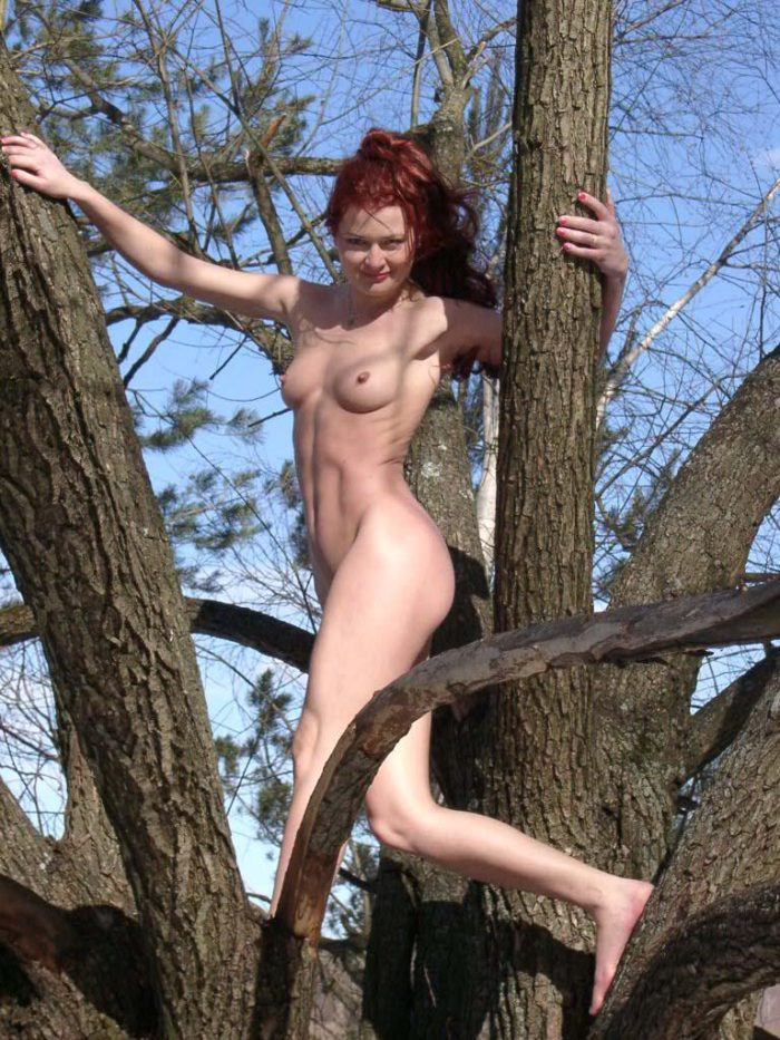 Nude girl climbs a tree to show pussy
