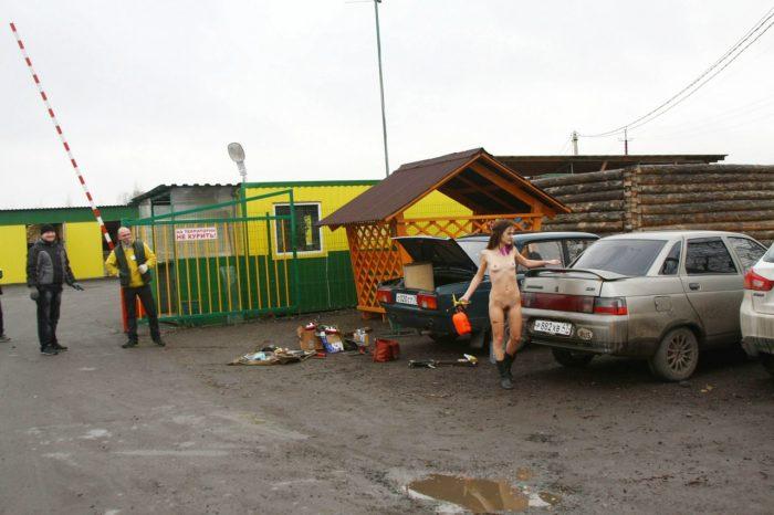 Russian girl Nadya with skinny body near market