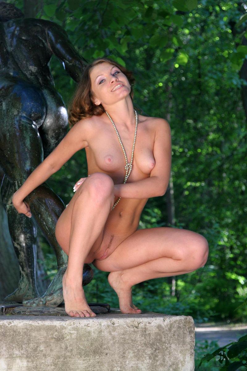 Sexy Oksana E Shows Pussy On The Bench  Russian Sexy Girls