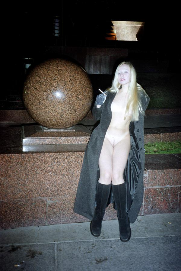 Sexy russian blonde flashes her body at Victory Park
