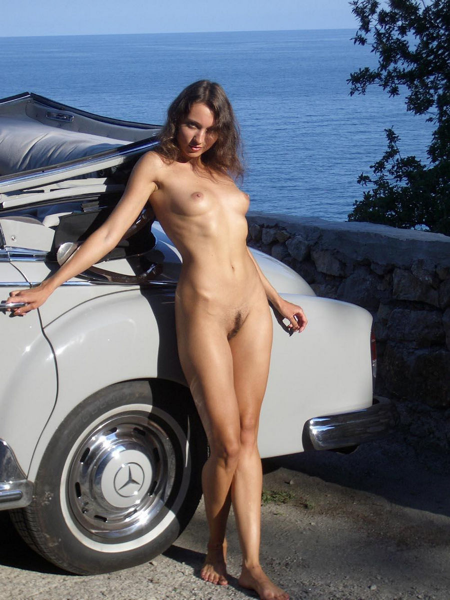 Sexy Russian Teen Posing Near Old Mercedes Benz  Russian -4261